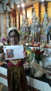 Dallas Natyalaya student earned her certification for her beautiful performance(Shivratiri celebrations)